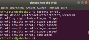 Fingerprint-Sensor im Terminal von Ubuntu