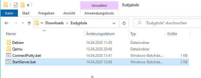 Die Batch-Dateien zum Starten der VM in QEMU