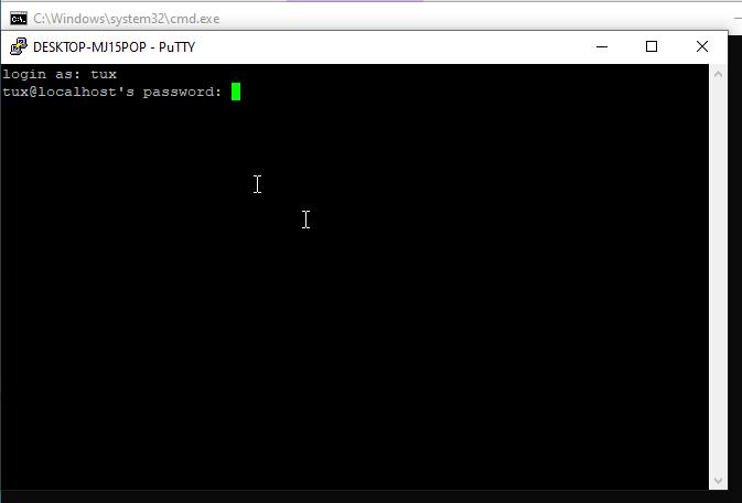Anmeldung über über Putty mit SSH an der VM
